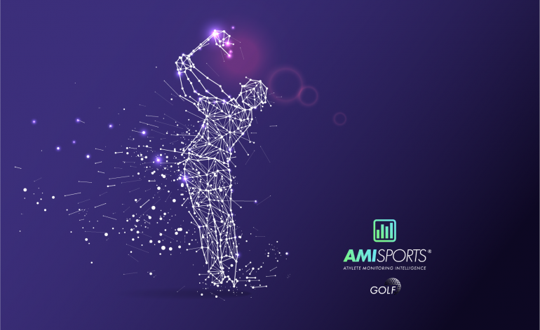 Decorative image showing a golfer made out of a mesh. To the right of the golfer is the AMI Sports: Golf logo