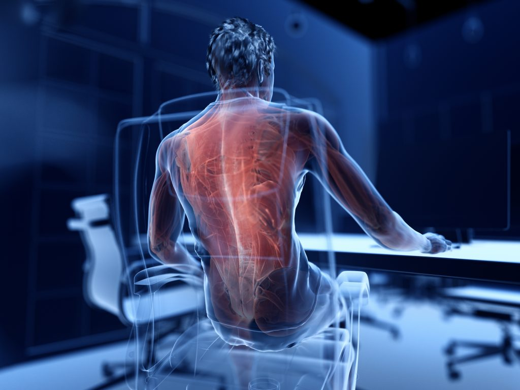 Decorative 3d rendered illustration of a man working on a pc - painful muscles
